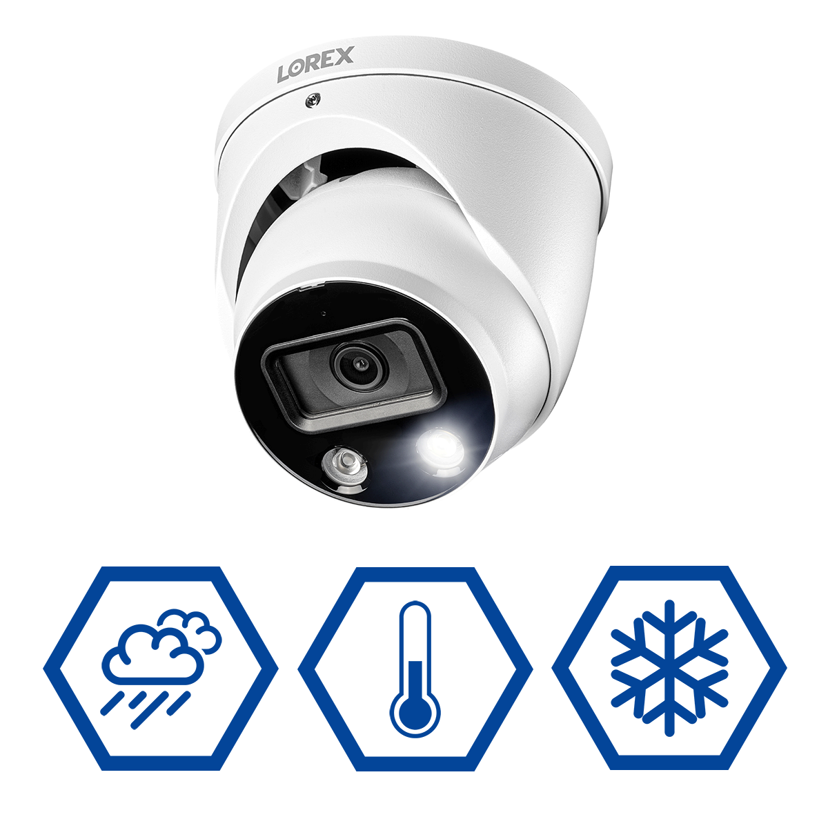 weatherproof 4K IP active deterrence smart security camera for year-round protection