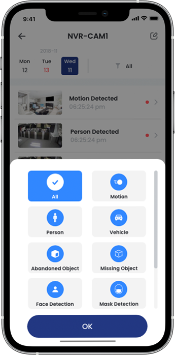 Filter smart motion events with the Lorex Home app