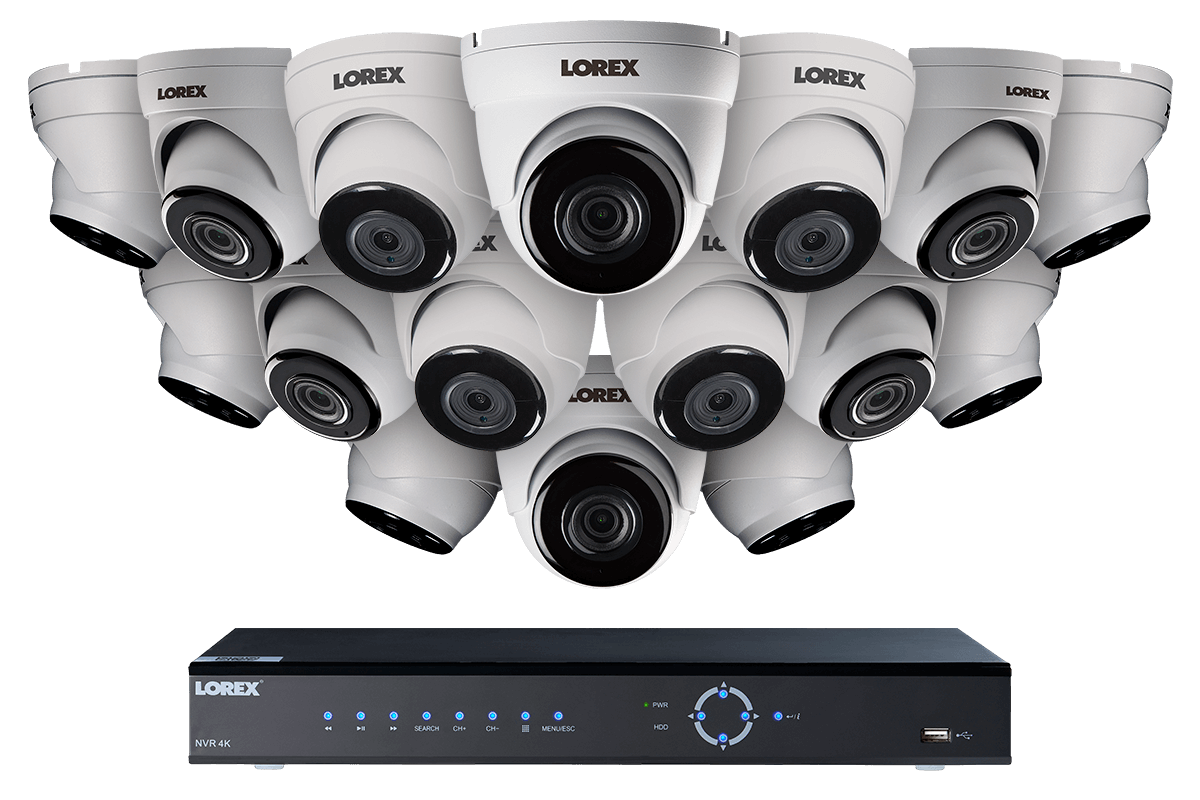 4K Ultra HD IP NVR security camera system with 2K (5MP) IP cameras, 130FT night vision