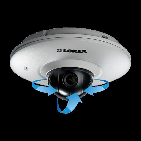 IP camera with adjustable pan-tilt camera module
