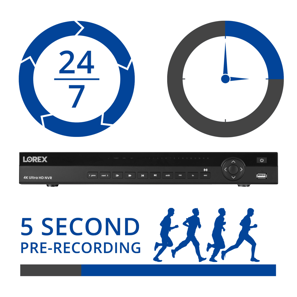 NVR multiple recording modes - continuous recording scheduled recording motion recording