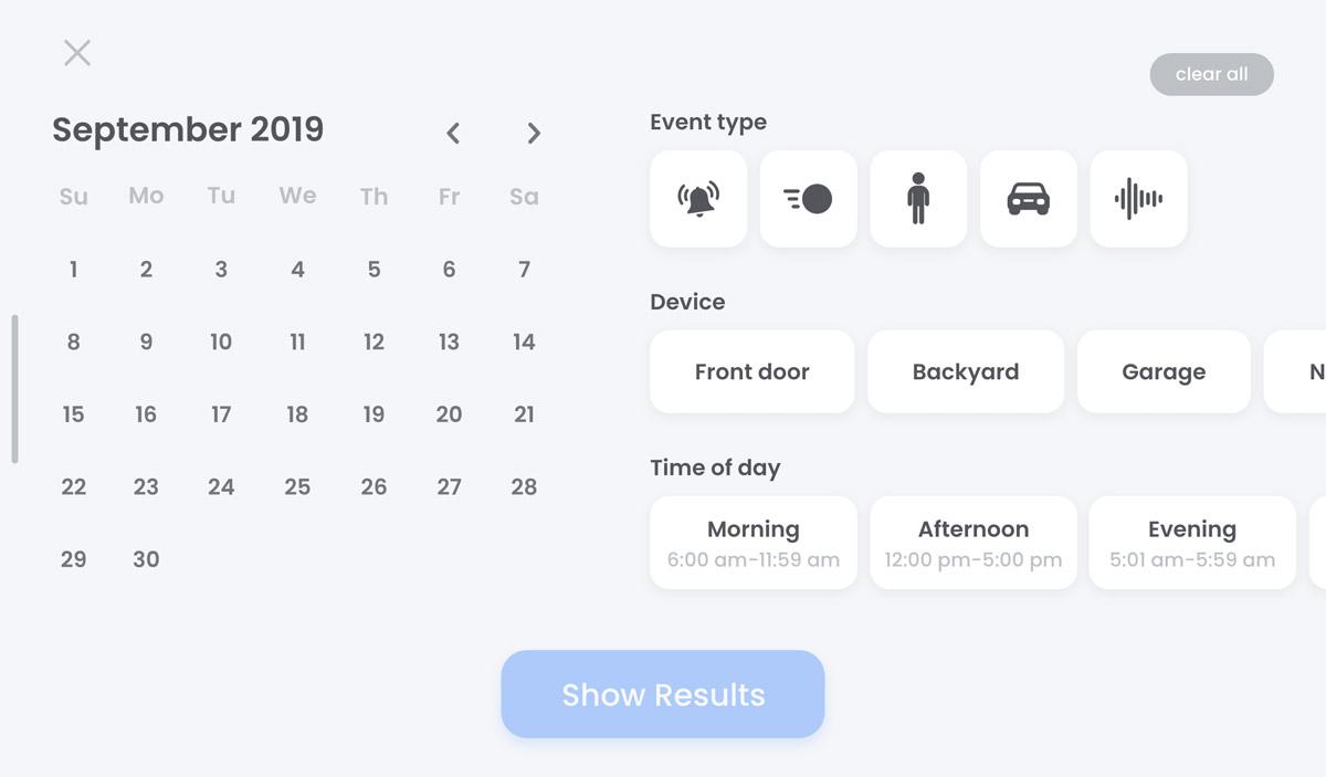 screenshot events filter