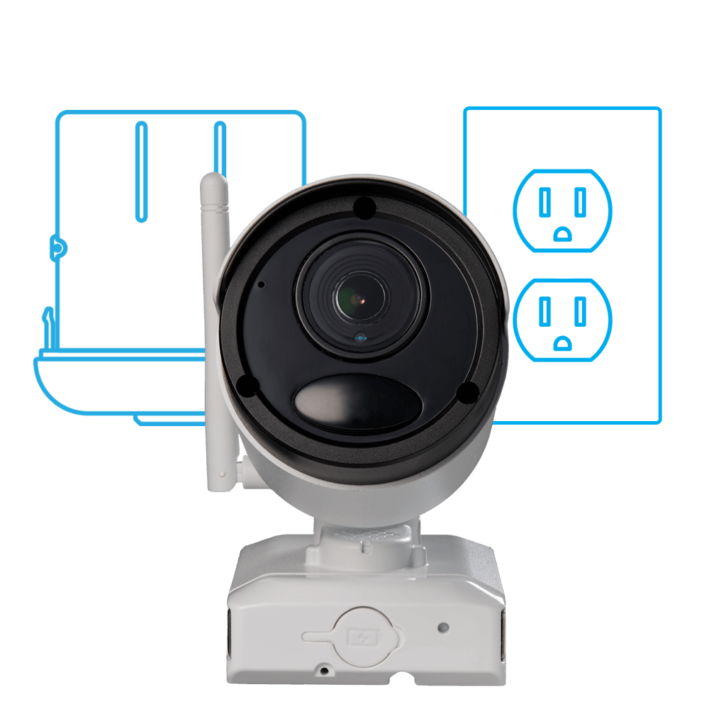 battery and power adapter powered security cameras