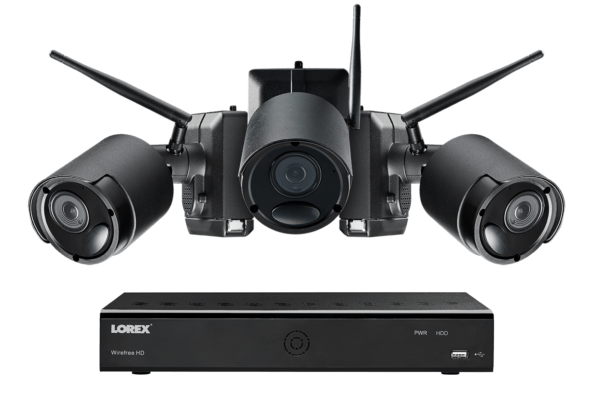 1080p Wire Free Camera System 3 Battery Powered Black