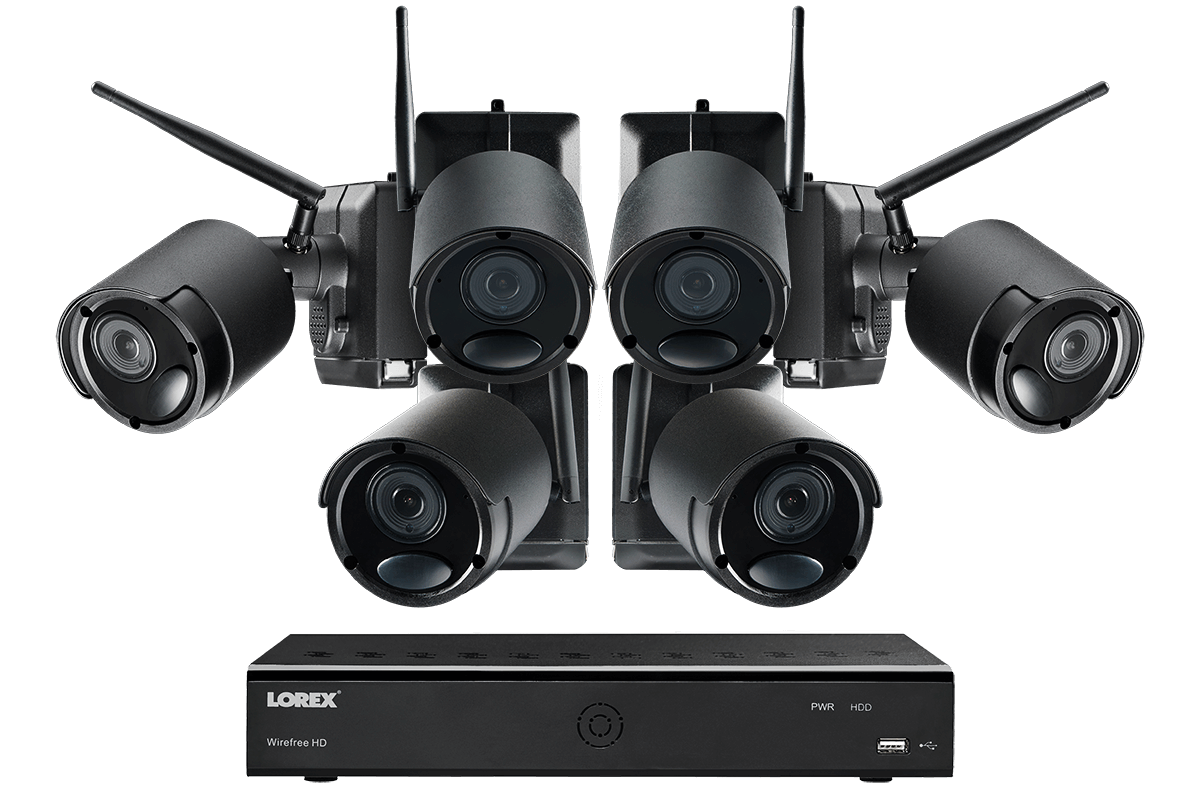 1080p Wire Free Camera System, 6 Battery Powered Black ...