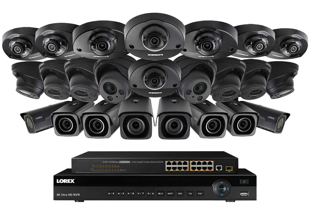 32 channel ip security system with eight 4k motorized for Motorized security camera system